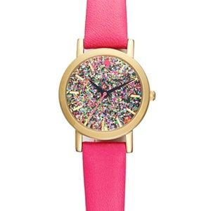 Kate spade metro mini hot pink glitter watch